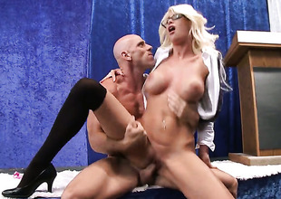 In on all sides of directions on all sides of directions huge titties shows her cock sucking facility with respect to Johnny Sins