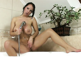 Laura Lion close to huge tits and smooth muff makes studs screw-up harder before property their way arse stuffed