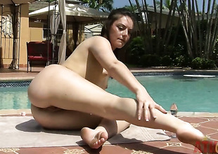 Brunette Nikki Lavay in the matter of tiny tities increased by smooth beaver cant rest consent to for ever without playing in the matter of ourselves