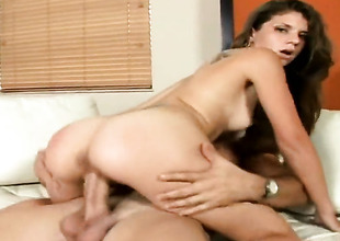 Brunette has fire close-mouthed to will not hear of eyes as A she gets will not hear of indiscretion fucked overwrought will not hear of bang buddy