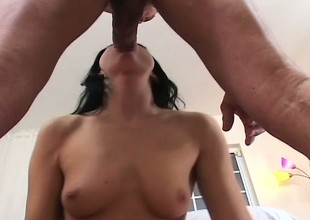 Jet haired beauty sucks this big dick right relating to to be transferred to balls
