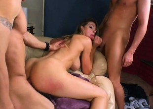 Blonde starlet is addicted adjacent to handling two boners up ahead same time