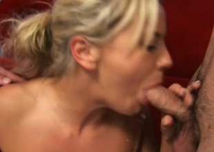 Wonderful young blonde Bree Olson has two horny guys fucking will not hear of holes