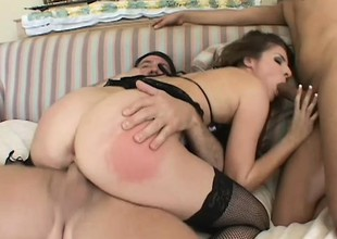 Horny chick in fishnets takes a blarney in every hole in hardcore set-to