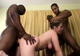 Slutty blonde gets her needy holes fucked hard hard by a group be fitting of swart guys