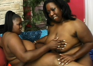 Heavy ebony cougars pleasing disparate times other's fiery pussies with sex toys