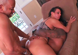 Busty whore Kendra gets pounded by two huge dastardly cocks