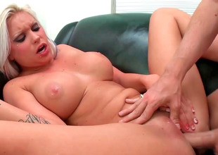 Chubby titted blonde Deadra Dee groans while unrefined fucked lasting