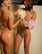 Two horny lesbian teens taking a shower together from Brooke Skye